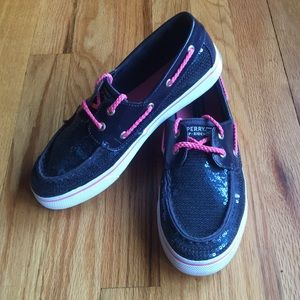 Sperry Top-Sider Navy Sequin Boat Shoes - Size 5